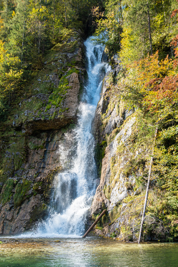 Waterfall into the Königssee as seen from the tourist boat, Berchtesgaden, Germany