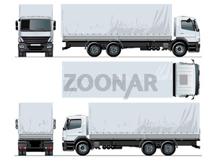 Vector awning flatbed truck mockup isolated on white background