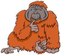 orangutan ape wild animal cartoon illustration