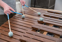Percussion instrument xylophone played with sound mallet - close-up