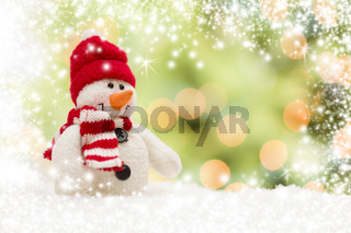 Cute Snowman Over Abstract Snow and Light Background