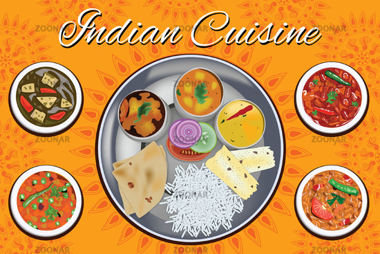 Indian cuisine - thali with choice of vegetable dishes