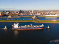 Ijmuiden, The Netherlands, 18th November 2020 Aerial view of the Ijmuiden Zeesluis sluice near Velsen Noord and Tata steel factory