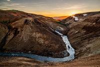 Sunrise in Kerlingarfjoll geothermal area, Iceland