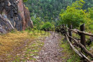 Wanderweg zum Fragsburger Wasserfall bei Meran, Suedtirol