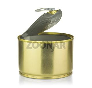 Empty open golden tin can