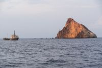 View of a boat trip on rock in the Tyrrhenian Sea - Calabria