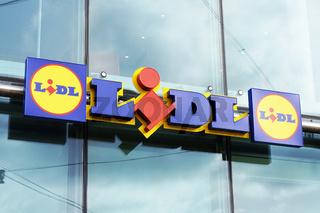 Lidl logo sign of german discounter supermarket chain