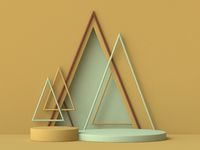Abstract mock up podium with triangle shaped frames 3D
