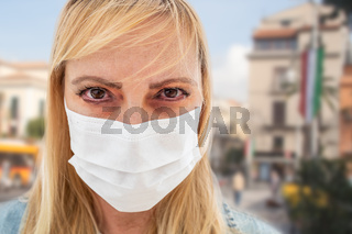 Sick Infected Young Woman Wearing Face Mask Walks on Street In Italy