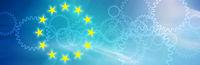 eu symbol, flag, europe, gear wheels, blue