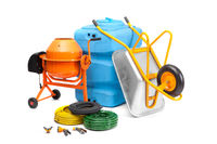 Concrete mixer, cart, tank and hoses on an isolated white background.
