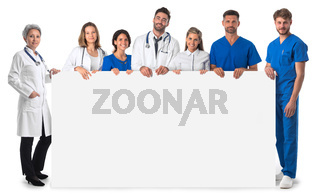 Group of doctors with blank banner