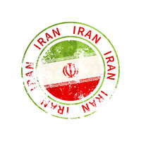 Iran sign, vintage grunge imprint with flag on white