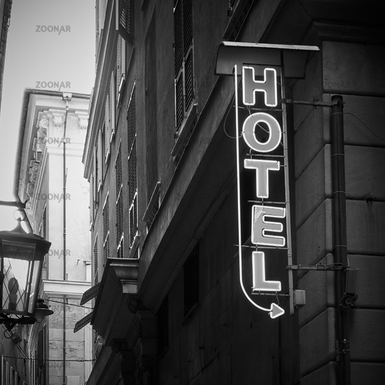 Hotel sign on the wall