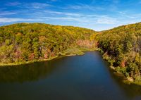 Panorama of Coopers Rock Lake in the state park with autumn and fall colors