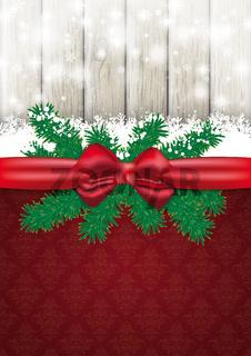 Christmas Card Ash Wood Red Ribbon Ornaments