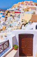 Colorful houses of Oia town in Santorini