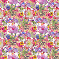 Seamless floral design with flowers and parrot for background, Endless pattern.