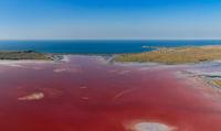 Pink Chokrak lake near Black Sea
