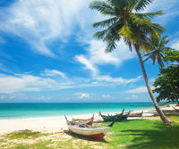 Tropical beach and longtail boat