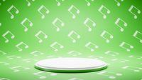 Empty White Platform on Musical Notes Shape Pattern Studio Background