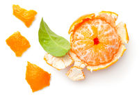 Peeled Mandarine Isolated On White Background