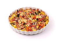 Mixed roasted vegetables on baking dish