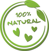round green 100 percent natural label with leaf and heart shape