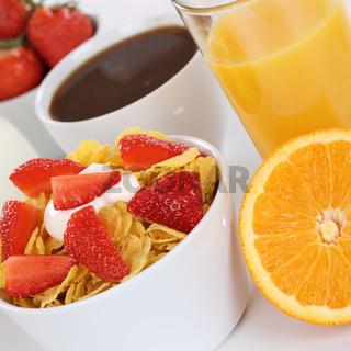 Frühstück mit Früchte Müsli, Orangen, Saft, Kaffee und Milch
