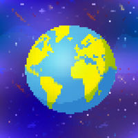 Bright earth planet in pixel art style, colorful globe on space background