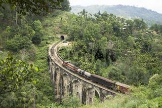 Train on a stone brigde in the mountains, Ella, Sri Lanka