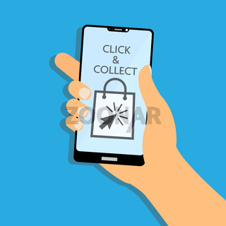 click and collect symbols on smartphone display vector illustration