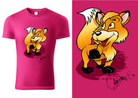 Pink Child T-shirt Design with Cartoon Fox