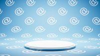Empty White Platform on Email Symbol Pattern Studio Background