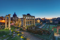 The famous ruins of the Roman Forum in Rome at dawn