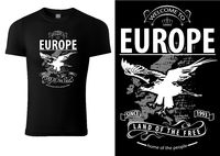 Black T-shirt Printed with Flying Eagle