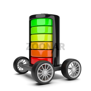 Electric Battery with Wheels on White Background 3D Illustration