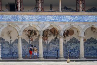 Tourist visiting The Sao Francisco Church and Convent of Salvador in the State of Bahia, Brazil.
