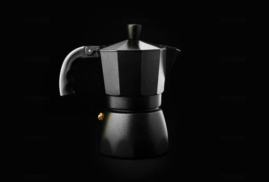 Black Geyser Coffee Maker isolated on black