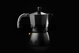 Black Geyser Coffee Maker isolated on black