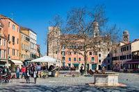 Venice, italy - mar 20, 2019 - campo santa margherita