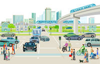 Transport with elevated train, bus and road transport illustration