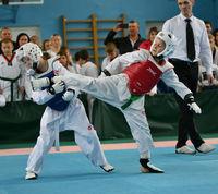 Orenburg, Russia - October 19, 2019: Boys compete in taekwondo At the Orenburg Open Taekwondo Champi