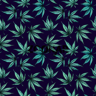 cannabis on blue background seamless pattern. Hand-drawn black and white cannabis leaves on a blue background.