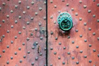 Old church door handle detail shot