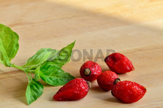 Dried rose hips and Basil on a wooden background