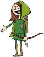 girl in Robin Hood costume at Halloween party cartoon illustration