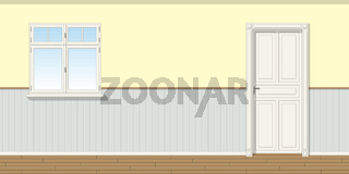 Illustration of a room with door and window, seamless