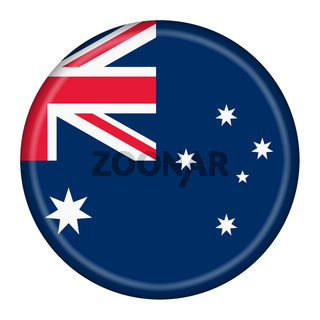 Australia button isolated on white with clipping path